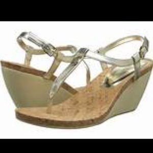 "Ralph Lauren""Reeta""Cork Insole TStrap Wedge Sandal"